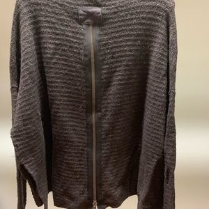 Free People Mock Neck Back Zipper Detail Sweater
